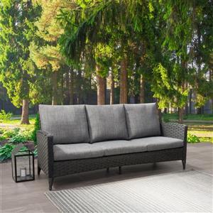 "CorLiving Rattan Patio Sofa - Charcoal Grey / Grey Cushions - 76"""