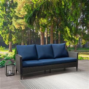 "CorLiving Rattan Patio Sofa - Charcoal Grey / Blue Cushions - 76"""