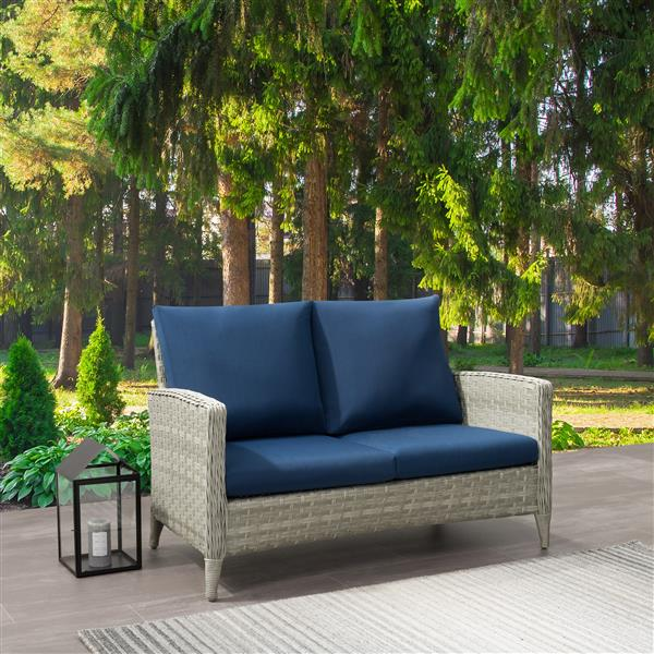 Stupendous Corliving Rattan Patio Loveseat Blended Grey Blue Download Free Architecture Designs Aeocymadebymaigaardcom