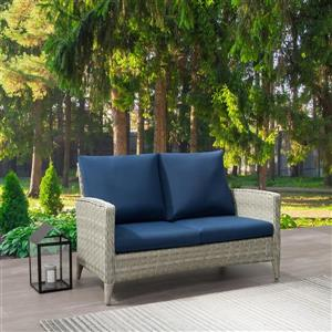 Rattan Patio Loveseat - Blended Grey / Blue Cushions - 53