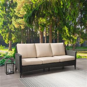 CorLiving Rattan Patio Sofa - Charcoal Grey / Beige Cushions - 76""