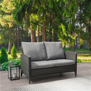 Rattan Patio Loveseat, Charcoal Grey / Grey Cushions - 53
