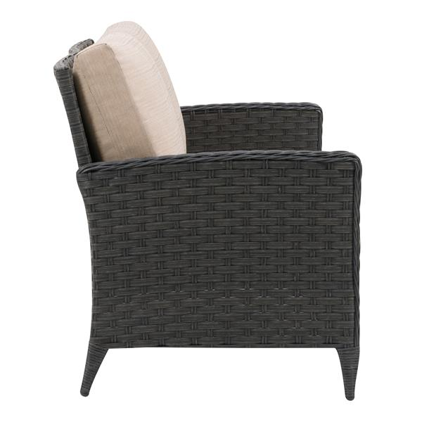 "Rattan Patio Loveseat, Charcoal Grey / Beige Cushions - 53"""