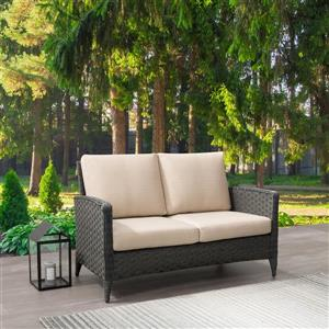 Rattan Patio Loveseat, Charcoal Grey / Beige Cushions - 53