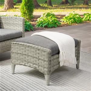 CorLiving Rattan Patio Foot Stool - Grey - 23