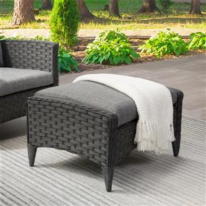 CorLiving Rattan Patio Foot Stool - Charcoal - 23