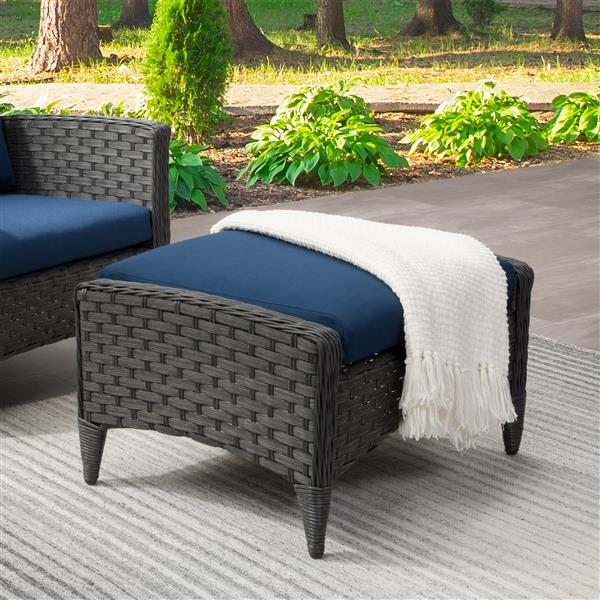 """CorLiving Rattan Patio Foot Stool - Charcoal/Blue - 29"""""""