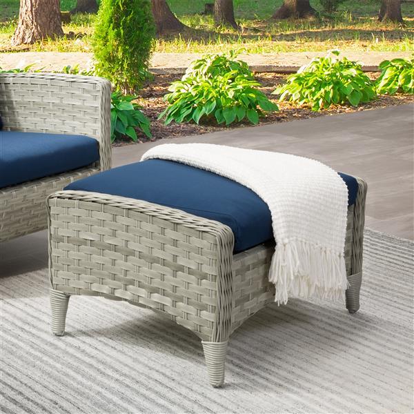 "CorLiving Rattan Patio Foot Stool - Grey/Blue cushion - 29"""
