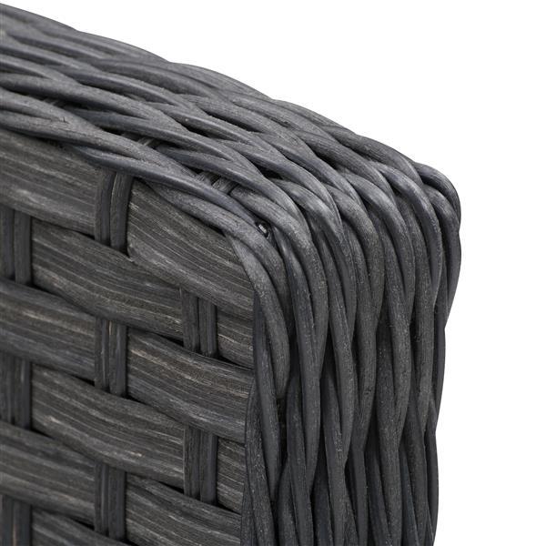 "CorLiving Rattan Patio Foot Stool - Charcoal / Beige - 29"""
