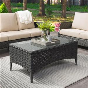 "CorLiving Wide Rattan Patio Coffee Table with Glass Table Top- 43""x24"""