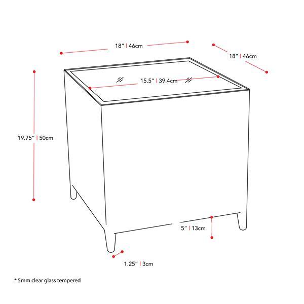 """Table carrée en osier, plateau du dessus en verre, 18"""" x 18"""""""