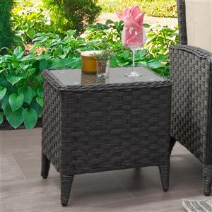 "CorLiving Rattan Square Patio End Table with Glass Table Top - 18""x18"""