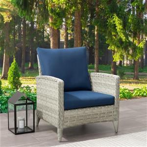 Fauteuil de patio en osier, gris avec coussins bleu, 29