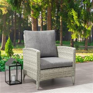 CorLiving Wicker Patio Chair, Blended Grey / Grey Cushions - 29""