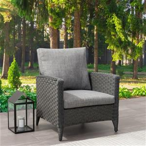 CorLiving Wicker Patio Chair, Charcoal Grey / Grey Cushions - 29""