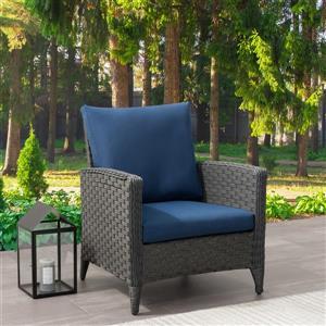 Fauteuil de patio en osier, charbon avec coussins bleu, 29