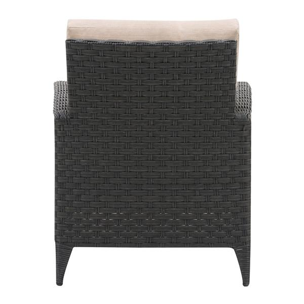 CorLiving Wicker Patio Chair, Charcoal Grey / Beige Cushions - 29""