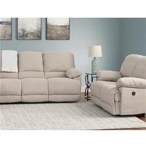 Recliner Sofa Chenille Fabric Power - Set 2pc - Beige