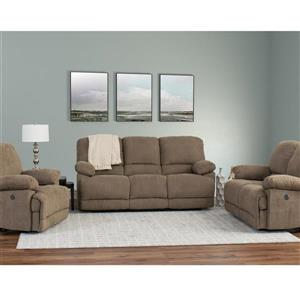 Chenille Fabric Power Recliner Sofa Set 3pc - Brown