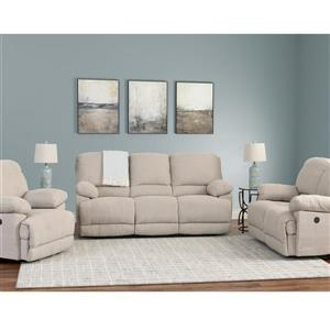 Chenille Fabric Power Recliner Sofa Set 3pc - Beige