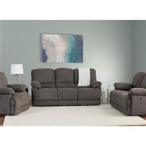 CorLiving Chenille Fabric Power Recliner Sofa Set 3pc - Grey