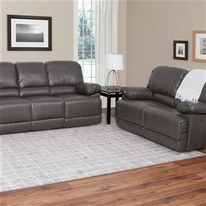 CorLiving Bonded Leather Power Recliner Sofa Set 2pc - Grey