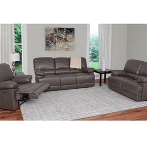 CorLiving Bonded Leather Power Recliner Sofa Set 3pc - Grey