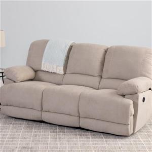 Sofa inclinable électrique Lea en tissu chenille, beige