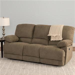 Sofa inclinable électrique Lea en tissu chenille, brun