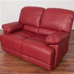 Causeuse inclinable électrique en cuir reconstitué, rouge