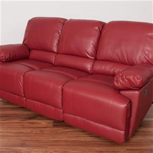 CorLiving Red Bonded Leather Power Reclining Sofa