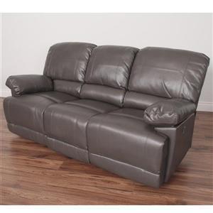 Sofa inclinable électrique en cuir reconstitué, gris-brun