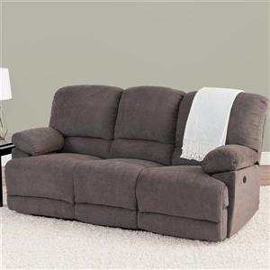 Sofa inclinable électrique Lea en tissu chenille, gris