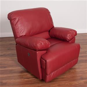 CorLiving Red Bonded Leather Power Recliner With USB Port