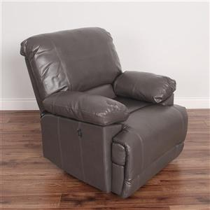 CorLiving Grey Bonded Leather Power Recliner With USB Port