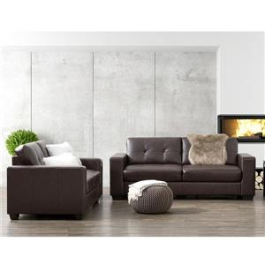Tufted Bonded Leather Sofa Set 2pc - Chocolate Brown