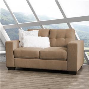 Petit canapé en tissu brun avec assise et dossier capitonné