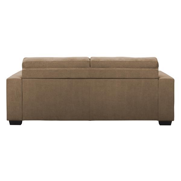 Canapé en tissu avec assise et dossier capitonné, brun