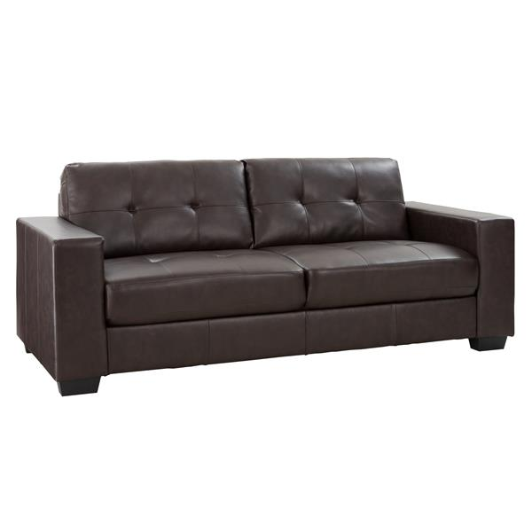CorLiving Chocolate Brown Tufted Bonded Leather Sofa