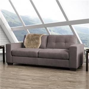 Canapé en tissu avec assise et dossier capitonné, gris