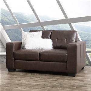 Petit canapé en cuir avec assise et dossier, brun chocolat