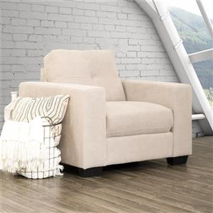 CorLiving Beige Tufted Chenille Fabric Chair