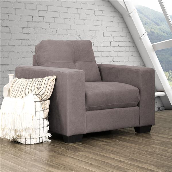 CorLiving Grey Tufted Chenille Fabric Chair
