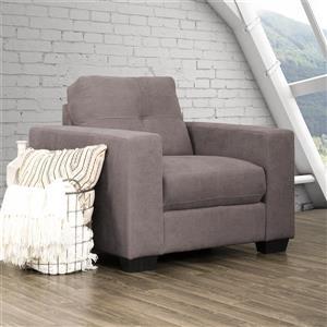 Fauteuil en tissu avec assise et dossier capitonné, gris
