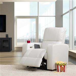 Fauteuil de cinéma inclinable électrique en cuir gel, blanc