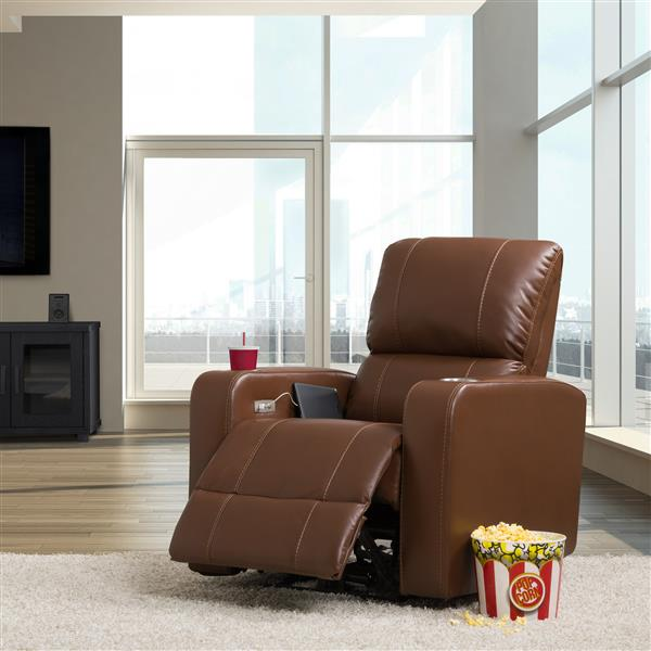 CorLiving Home Theater Single Power Recliner, Brown