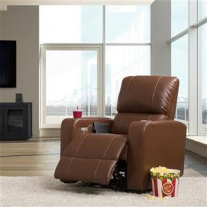 Fauteuil de cinéma inclinable électrique en cuir gel, brun