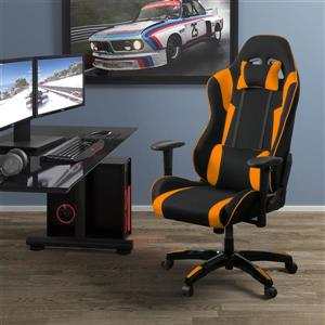 Fauteuil de jeux ergonomique de CorLiving, noir et orange