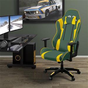Fauteuil de jeux ergonomique de CorLiving, vert et jaune