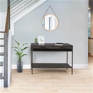 """Table d'entrée avec 2 tiroirs et étagère, gris/noir, 39"""""""